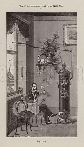 """Ideal"" incandescent fuel stove with flue. Illustration for Bilz, The Natural Method of Healing (c 1888)."