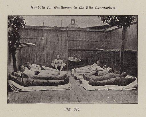 Sunbath for gentlemen in the Bilz Sanatorium. Illustration for Bilz, The Natural Method of Healing (c 1888).