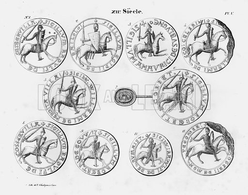 XIIe Siecle. Illustration for unidentified French work on Norman and English seals.