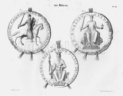 XII Siecle. Illustration for unidentified French work on Norman and English seals.