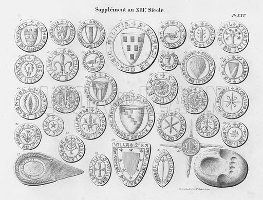 Supplement au XIIIe Siecle. Illustration for unidentified French work on Norman and English seals.
