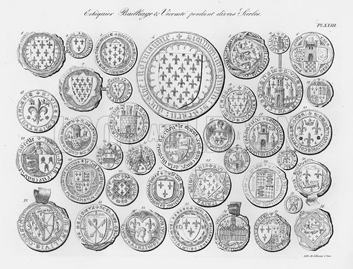 Echiquier Bailliage et Vicomte pendant divers Siecles. Illustration for unidentified French work on Norman and English seals.