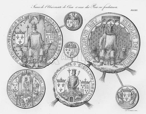 Sceau de l'Universite de Caen et ceux des Rois ses fondateurs. Illustration for unidentified French work on Norman and English seals.