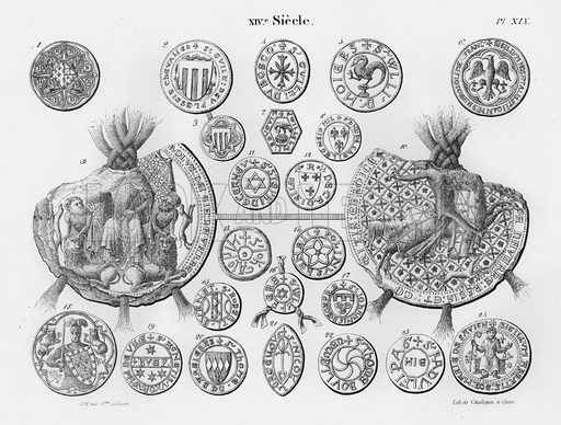 XIVe Siecle. Illustration for unidentified French work on Norman and English seals.