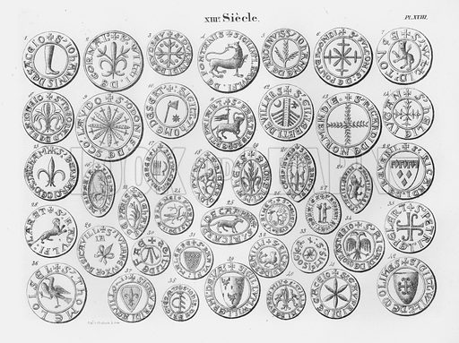 XIIIe Siecle. Illustration for unidentified French work on Norman and English seals.