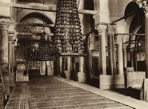 Kairuan, Main nave of the Great Mosque. Illustration for Picturesque North Africa (Jarrolds, c 1925).  First published by Ernst Wasmuth, Berlin, 1925.  Gravure-printed. Photo credit: Lehnert and Landrock, Cairo.