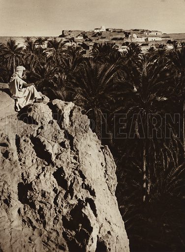 Nefta Oasis. Illustration for Picturesque North Africa (Jarrolds, c 1925).  First published by Ernst Wasmuth, Berlin, 1925.  Gravure-printed. Photo credit: Lehnert and Landrock, Cairo.