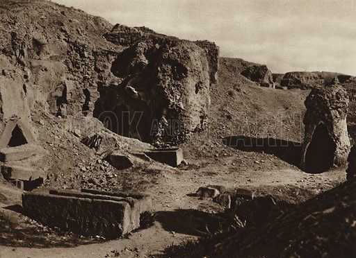 Carthage, Punic graves. Illustration for Picturesque North Africa (Jarrolds, c 1925).  First published by Ernst Wasmuth, Berlin, 1925.  Gravure-printed. Photo credit: Lehnert and Landrock, Cairo.