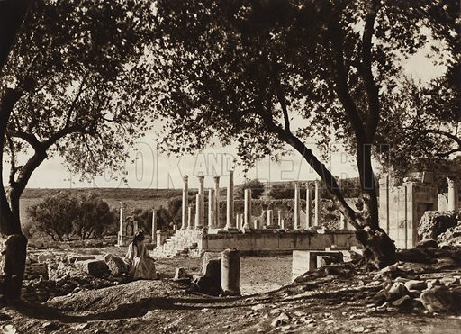 Dougga, Temple of Caelestis. Illustration for Picturesque North Africa (Jarrolds, c 1925).  First published by Ernst Wasmuth, Berlin, 1925.  Gravure-printed. Photo credit: Lehnert and Landrock, Cairo.