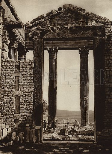 Dougga, Capitol. Illustration for Picturesque North Africa (Jarrolds, c 1925).  First published by Ernst Wasmuth, Berlin, 1925.  Gravure-printed. Photo credit: Lehnert and Landrock, Cairo.