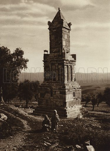 Dougga, Punic mausoleum. Illustration for Picturesque North Africa (Jarrolds, c 1925).  First published by Ernst Wasmuth, Berlin, 1925.  Gravure-printed. Photo credit: Lehnert and Landrock, Cairo.
