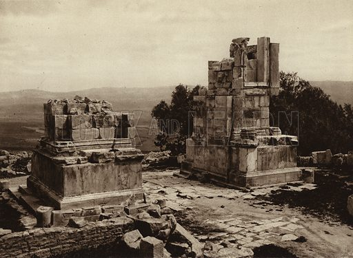 Dougga, Triumphal arch of Septimius Severus. Illustration for Picturesque North Africa (Jarrolds, c 1925).  First published by Ernst Wasmuth, Berlin, 1925.  Gravure-printed. Photo credit: Lehnert and Landrock, Cairo.