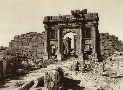 Sbeitia, Forum. Illustration for Picturesque North Africa (Jarrolds, c 1925).  First published by Ernst Wasmuth, Berlin, 1925.  Gravure-printed. Photo credit: Lehnert and Landrock, Cairo.