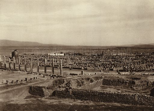 Timgad, General view. Illustration for Picturesque North Africa (Jarrolds, c 1925).  First published by Ernst Wasmuth, Berlin, 1925.  Gravure-printed. Photo credit: Lehnert and Landrock, Cairo.