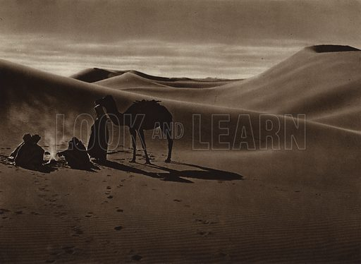 Evening in the desert. Illustration for Picturesque North Africa (Jarrolds, c 1925).  First published by Ernst Wasmuth, Berlin, 1925.  Gravure-printed. Photo credit: Lehnert and Landrock, Cairo.