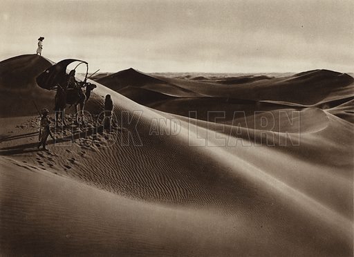 Dunes. Illustration for Picturesque North Africa (Jarrolds, c 1925).  First published by Ernst Wasmuth, Berlin, 1925.  Gravure-printed. Photo credit: Lehnert and Landrock, Cairo.