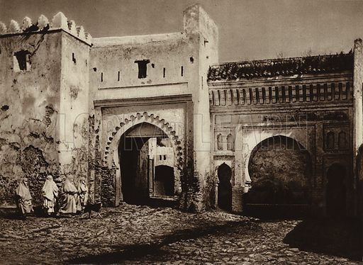 Tetuan, Old city gate. Illustration for Picturesque North Africa (Jarrolds, c 1925).  First published by Ernst Wasmuth, Berlin, 1925.  Gravure-printed. Photo credit: Photo-Flandrin Casablanca.