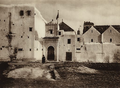 Tetuan, View of the old town. Illustration for Picturesque North Africa (Jarrolds, c 1925).  First published by Ernst Wasmuth, Berlin, 1925.  Gravure-printed. Photo credit: Photo-Flandrin Casablanca.