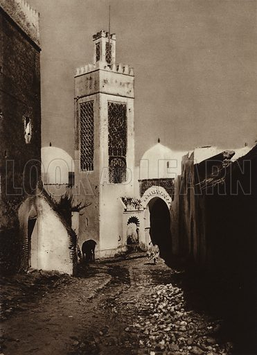 Tetuan, Sidi Saida Mosque. Illustration for Picturesque North Africa (Jarrolds, c 1925).  First published by Ernst Wasmuth, Berlin, 1925.  Gravure-printed. Photo credit: Photo-Flandrin Casablanca.