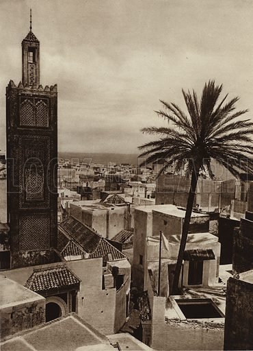 Tangiers, View of the town with the Aissaula Mosque. Illustration for Picturesque North Africa (Jarrolds, c 1925).  First published by Ernst Wasmuth, Berlin, 1925.  Gravure-printed. Photo credit: Lehnert and Landrock, Cairo.