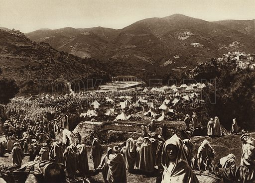 Moulay-Idris, Pilgrims camp. Illustration for Picturesque North Africa (Jarrolds, c 1925).  First published by Ernst Wasmuth, Berlin, 1925.  Gravure-printed. Photo credit: Photo-Flandrin Casablanca.