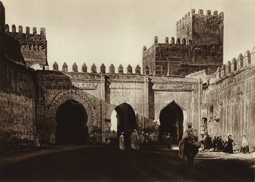 Fez, Mosque of the Andalusians. Illustration for Picturesque North Africa (Jarrolds, c 1925).  First published by Ernst Wasmuth, Berlin, 1925.  Gravure-printed. Photo credit: Photo-Flandrin Casablanca.