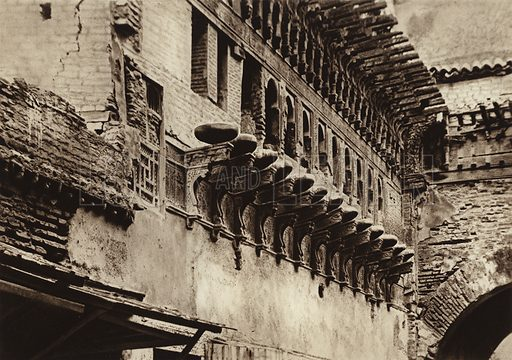 Fez, Console frieze of an old building. Illustration for Picturesque North Africa (Jarrolds, c 1925).  First published by Ernst Wasmuth, Berlin, 1925.  Gravure-printed. Photo credit: Photo-Flandrin Casablanca.