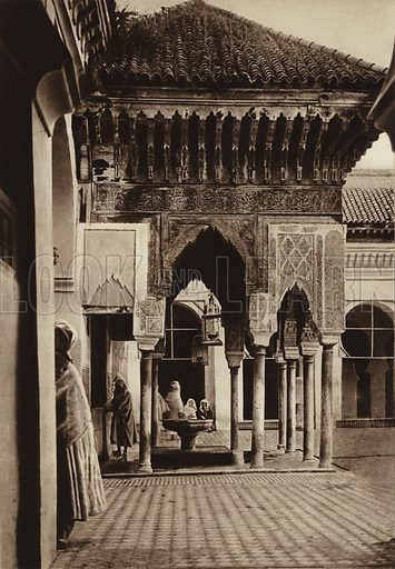 Fez, Pavilion in the University, Karauin Mosque. Illustration for Picturesque North Africa (Jarrolds, c 1925).  First published by Ernst Wasmuth, Berlin, 1925.  Gravure-printed. Photo credit: Photo-Flandrin Casablanca.