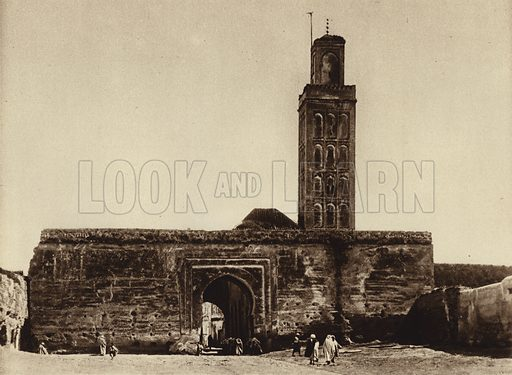 Meknes, Mosque. Illustration for Picturesque North Africa (Jarrolds, c 1925).  First published by Ernst Wasmuth, Berlin, 1925.  Gravure-printed. Photo credit: Photo-Flandrin Casablanca.