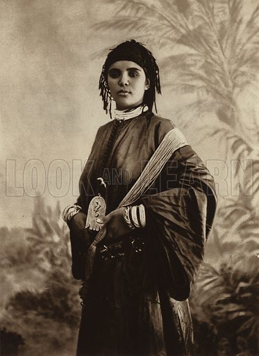 Moroccan Girl. Illustration for Picturesque North Africa (Jarrolds, c 1925).  First published by Ernst Wasmuth, Berlin, 1925.  Gravure-printed. Photo credit: Photo-Flandrin Casablanca.