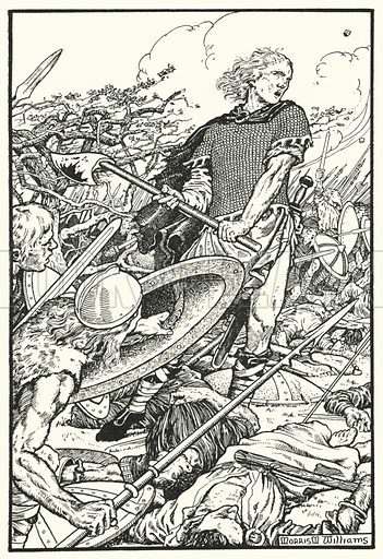 Alfred at Ashdune. Illustration for The Northmen in Britain by Eleanor Hull (Harrap, 1913).