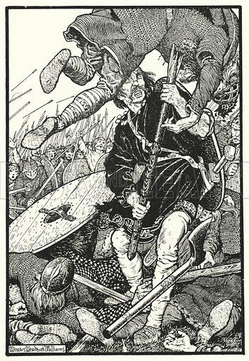 Thorolf slays Earl Hring at Brunanburh. Illustration for The Northmen in Britain by Eleanor Hull (Harrap, 1913).