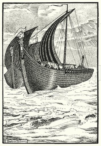 """King Olaf's """"Long Serpent."""" Illustration for The Northmen in Britain by Eleanor Hull (Harrap, 1913)."""