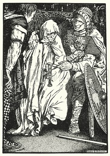 Olaf took the Old Woman in his Arms. Illustration for The Northmen in Britain by Eleanor Hull (Harrap, 1913).