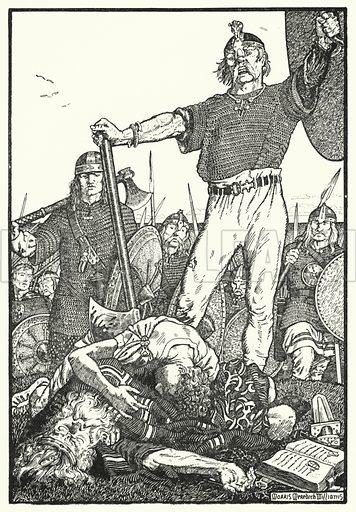 Death of Brian Boru at Clontarf. Illustration for The Northmen in Britain by Eleanor Hull (Harrap, 1913).