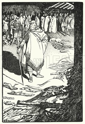 """Come thou out, housewife,"" called Flosi to Bergthora. Illustration for The Northmen in Britain by Eleanor Hull (Harrap, 1913)."