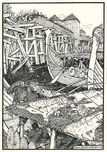 The Battle of London Bridge. Illustration for The Northmen in Britain by Eleanor Hull (Harrap, 1913).