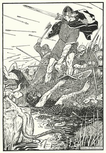 King Magnus in the Marsh at Downpatrick. Illustration for The Northmen in Britain by Eleanor Hull (Harrap, 1913).