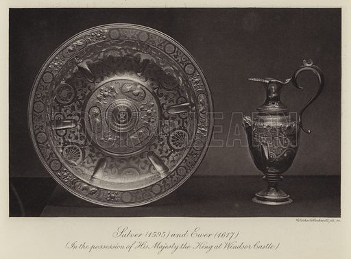 Salver (1595) and Ewer (1617), in the possession of His Majesty the King at Windsor Castle. Illustration for Old English Plate by Wilfred Joseph Cripps (11th edn, John Murray, 1926).  Work first published in 1878.