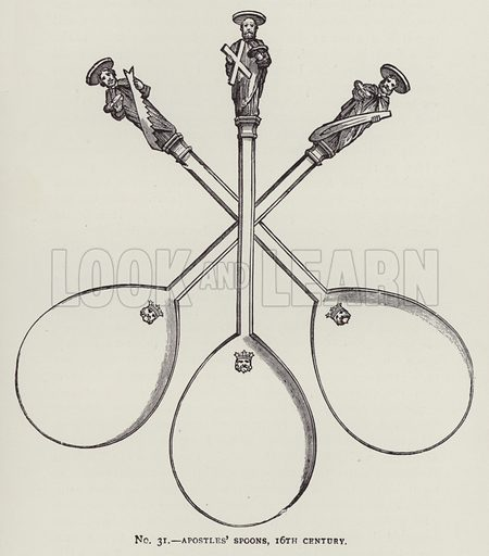 Apostles' Spoons, 16th Century. Illustration for Old English Plate by Wilfred Joseph Cripps (11th edn, John Murray, 1926).  Work first published in 1878.
