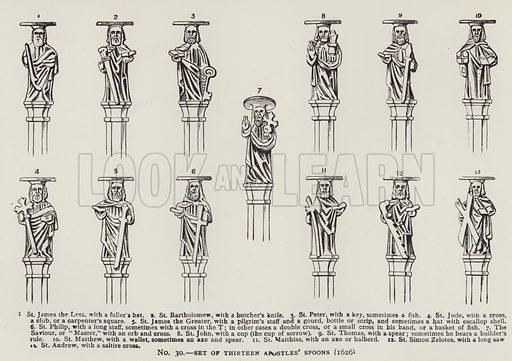 Set of thirteen Apostles' Spoons (1626). Illustration for Old English Plate by Wilfred Joseph Cripps (11th edn, John Murray, 1926).  Work first published in 1878.
