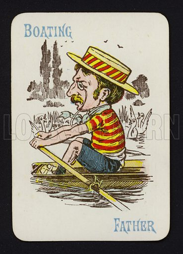 Boating, Father.  Illustration for one of a set of Old Maid playing cards. Late 19th or early 20th century.