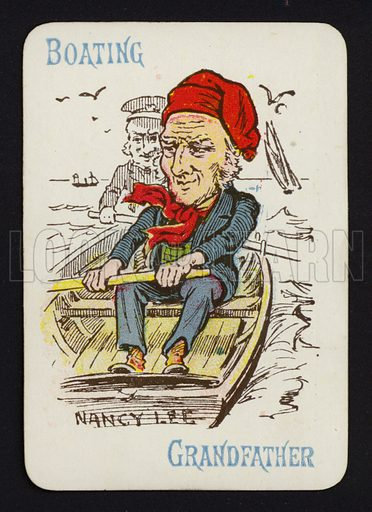 Boating, Grandfather. Illustration for one of a set of Old Maid playing cards. Late 19th or early 20th century.