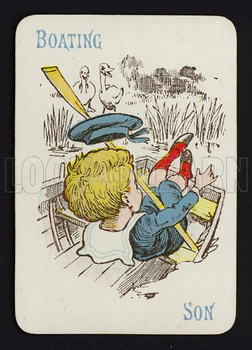 Boating, Son. Illustration for one of a set of Old Maid playing cards. Late 19th or early 20th century.