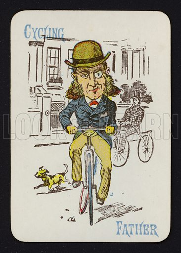 Cycling, Father. Illustration for one of a set of Old Maid playing cards. Late 19th or early 20th century.