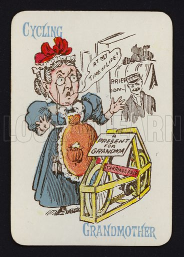 Cycling, Grandmother. Illustration for one of a set of Old Maid playing cards. Late 19th or early 20th century.