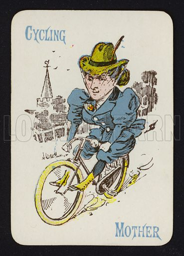 Cycling, Mother. Illustration for one of a set of Old Maid playing cards. Late 19th or early 20th century.