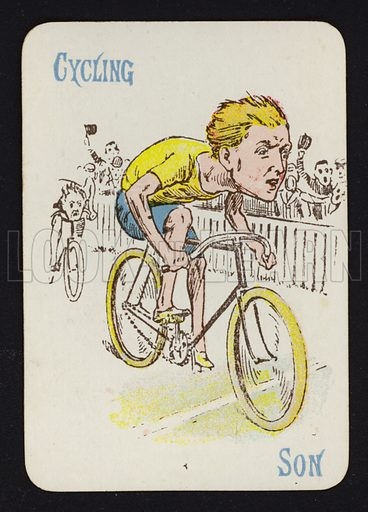 Cycling, Son. Illustration for one of a set of Old Maid playing cards. Late 19th or early 20th century.