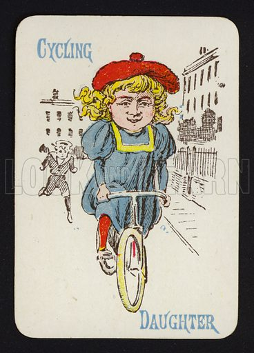 Cycling, Daughter. Illustration for one of a set of Old Maid playing cards. Late 19th or early 20th century.