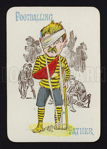 Footballing, Father. Illustration for one of a set of Old Maid playing cards. Late 19th or early 20th century.